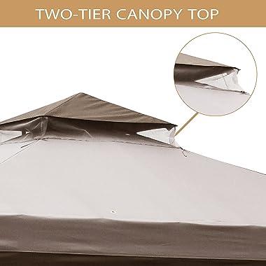CoastShade 10x10 Outdoor Patio Garden Gazebo,Patio Gazebos Canopy Garden Structures Gazebos with1 sidewall and 4 Netting encl
