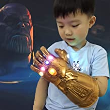 Thanos Infinity Gauntlet LED Light Up PVC Glove Cosplay Prop Costume for Halloween Party (Kids Version)