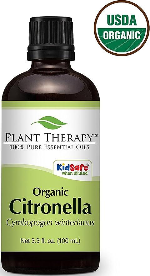 上記の頭と肩抑制する見落とすOrganic Citronella Essential Oil 100 ml (3.3 oz). 100% Pure, Undiluted.