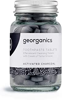 Georganics | Natural + Organic Effervescent Cleansing Toothpaste Tablets, Fluoride + SLS Free, Activated Charcoal, 120 Tab...