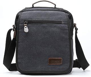 XINCADA Mens Bag Messenger Bag Canvas Shoulder Bags Travel Bag Man Purse Crossbody Bags for Work Business (Black-L)