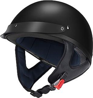 GLX Unisex-Adult Size M15 Fiberglass Scooter Chopper Motorcycle Half Face Helmet DOT Approved (Matte Black, XX-Large)