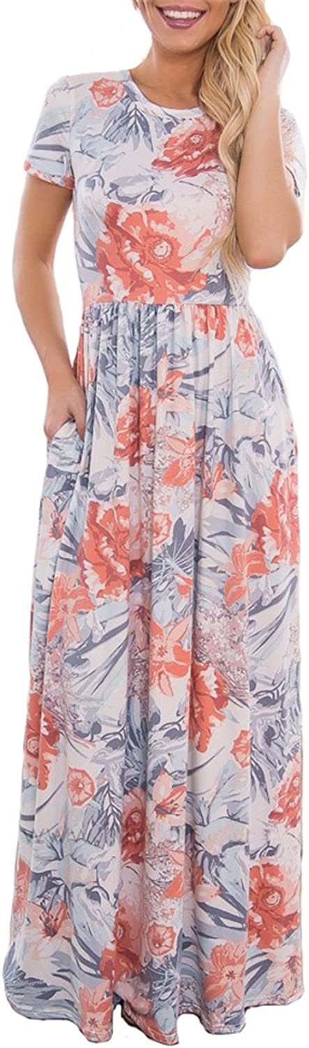 BOCOTUBE Women's Summer Floral Print Beach Long Maxi Casual Dress with Pockets White
