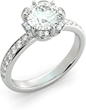Round Cut Charles & Colvard Forever One Moissanite & Natural Diamond Engagement Ring Custom Claws Vintage 6 Prong Your choice of Solid 14k White Yellow or Rose Gold 1.88 ct