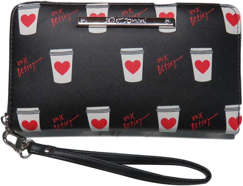 Betsey Johnson Full Size Wristlet Wallet Hearts Coffee Tea XOX