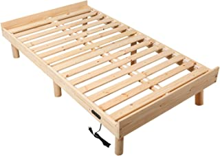 WLIVE すのこベッド ベッドフレーム シングルベッド コンセント付き 高さ3WAY調節 脚付き 天然木 耐久性抜群 通気性よく 耐荷重250kg 頑丈 シングル 北欧パイン シンプル 幅97×奥行き199×高さ約33cm 一人暮らし ナチュラル WF0093A