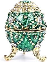 Bciou Green Faberge-Egg Handgeschilderde Sieraden Trinket Box Gift voor Pasen Home Decor