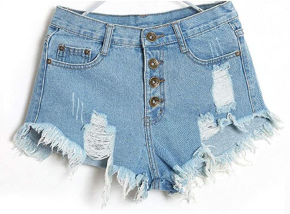 LIEJIE Short Jeans for Women Girls 1PC Women Vintage High Waist Jeans Hole Short Jeans Denim Shorts