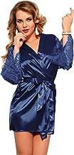 Women's Lace Robe Babydoll Lingerie Mesh Nightgown G-String Sleepwear Chemise V-Neck Full Slip Babydoll Nightgown,Blue,M