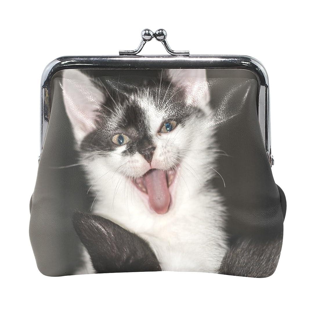 ミル欠如沈黙AOMOKI 財布 小銭入れ ガマ口 コインケース レザー 猫柄 黒白 可愛い 変な表情 猫耳