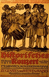 five military musicians in uniforms from various historical periods the coat of arms of Austria-Hungary is at top Poster P...
