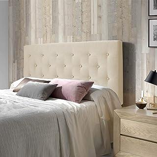 comprar comparacion marckonfort Cabecero tapizado Oslo 150X100, capitone en Tela Beige Tostado, Grosor de 8 cm