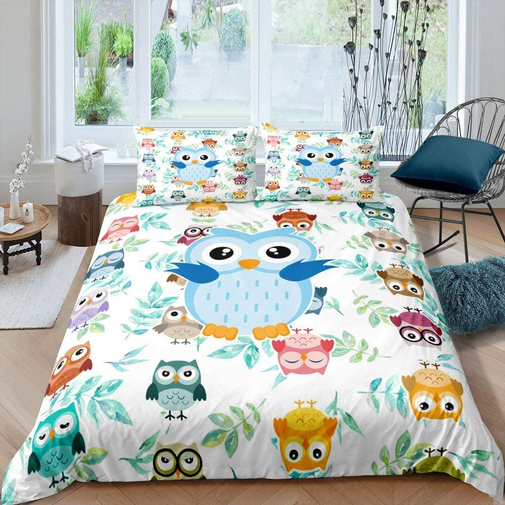Owl with Leaves Duvet Cover Cheap Seattle Mall Adorable Cartoon Soft Funy Microfibe