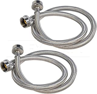 FlexCraft 2574PR-2 Stainless Steel Washing Machine Hose Connector Burst Proof, Hot and Cold Water Supply, Washing Machine Supply Line, 4 FT (2 Pack)