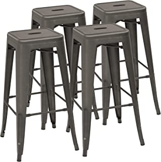 Devoko Metal Bar Stool 30'' Tolix Style Indoor/Outdoor Barstool Modern Industrial Backless Light Weight Bar Stools with Square Seat Set of 4 (Gun)