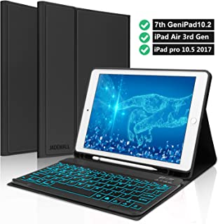 "Keyboard case for iPad Pro 10.5"" 2017- iPad 10.2 7th Gen- iPad Air 3 2019- Pencil Holder- Detachable Wireless Bluetooth Backlits Keyboard- iPad Case with Keyboard for iPad 10.2 10.5 Inch- Black"