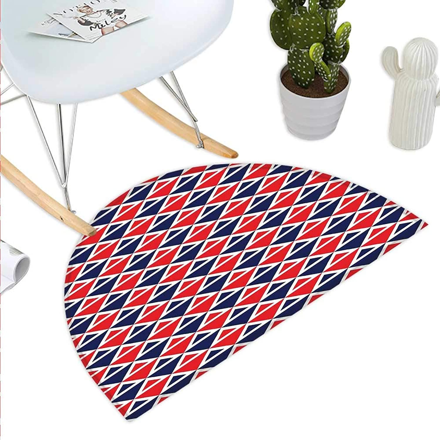 Americana Semicircle Doormat USA Flag Inspired Abstract Pattern Squares and Triangles Artwork Halfmoon doormats H 35.4  xD 53.1  Red Dark bluee and White
