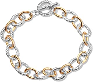 Simple Style Link Bracelet Two Tone Circles Chain Silver and Gold Wire Cable Bangle Designer Inspired Bracelets for Women ...