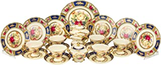 Euro Porcelain 24-pc. Vintage Tea Coffee Cup Dining Dessert Set, 24 kt Gold Plated Roses Decorated Antique Pictorial, Hand Painted Service for 6 Luxury Bone China Tableware (Blue)