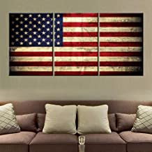 Native American Decor Red Flags Pictures Patriotic Paintings Stars Stripes Artwork 3 Piece Canvas Wall Art for Home Posters and Prints Framed Stretched Ready to Hang in Living Room(48''Wx24''H)