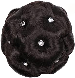 Synthetic Hair Bun Extensions Messy Hair Scrunchies Hair Pieces for Women Hair Donut Updo Ponytail - Female Wig Hair Ring Curly Bride Makeup Diamond Bun Flowers Chignon Hairpiece (B)