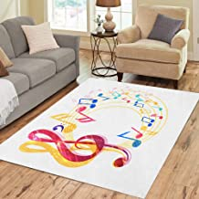 Semtomn Area Rug 3' X 5' Melody Abstract Music Various Notes and Treble Clef Choir Home Decor Collection Floor Rugs Carpet for Living Room Bedroom Dining Room