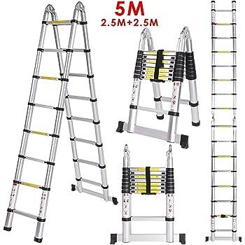 Finether Escalera Telescópica de Aluminio, Escalera Extensible Multifuncional Portátil 3,2M con Protección de Dedos. Certificada por EN131, profesionales y Plegables, Carga 150kg Color Negro: Amazon.es: Bricolaje y herramientas