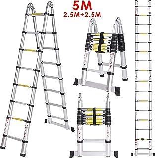Meditool 5M(2,5M+2,5m)Escalera plegable aluminio,Escalera