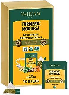 VAHDAM, Organic Turmeric + Moringa SUPERFOOD Herbal Tea, 100 Count | USDA Certified India's Ancient Medicine Blend of Turm...
