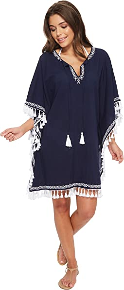 Crinkle Embroidered Tunic Cover-Up