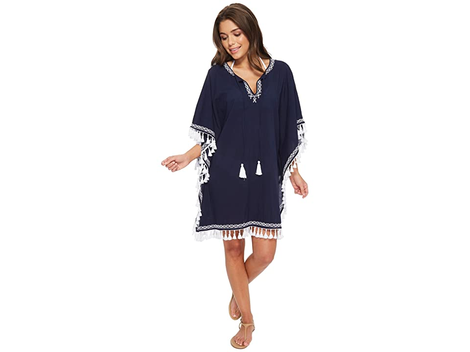 Tommy Bahama Crinkle Embroidered Tunic Cover-Up (Mare Navy/White) Women