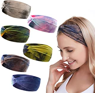 Headbands for Women,Twisted Boho Headwrap,Head Wraps for Women,Sport Yoga Hair Band Elastic Head Bands Stretch,6 Pieces