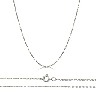 Solid 10K Yellow, White, Rose Gold 0.8mm Thin Rope Chain 16