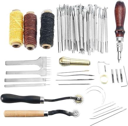 JCHUNL Leder Handwerkzeug Hand Nähen Nähwerkzeug Thread Ahle gewachste Fingerhut Kit New Hot B07Q9YKQB7 | Zart