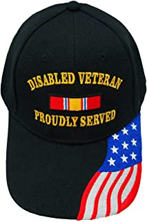 Disabled Veteran Cap Proudly Served Black Hat, American Flag