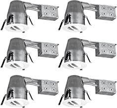 TORCHSTAR 4 Inch Remodel Recessed Can + Gimbal Trim Kit, UL-Listed Air Tight & IC Housing Can, GU10 Socket Included, Swivel White Metal Decorative Trim, 120V Line Voltage, Pack of 6