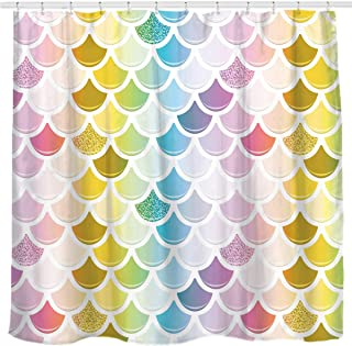 Sunlit Designer Colorful Fish Scale Mermaid Tail Geometric Shower Curtain, Water Repellent Fabric. Ocean Theme Fairy Tale for Party and Bathroom Décor