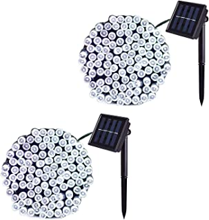 JMEXSUSS 2 Pack Solar String Light 100LED 42.7ft 8 Modes Solar Christmas Lights Waterproof for Gardens, Wedding, Party, Homes, Christmas Tree, Curtains, Outdoors (White)