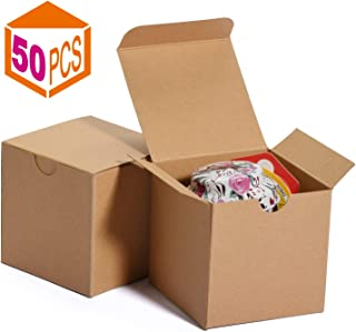 MESHA Gift Boxes 3 x 3 x 3 Inches, Paper White Boxes with Lids for Gifts, Crafting, Cupcake Packaging Boxes (Brown-50Pcs)