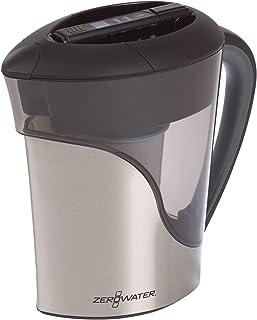 ZeroWater   Carafe filtrante en acier inoxydable pour 11 tasses avec filtre avancé à 5 étapes + compteur de qualité d'eau,...