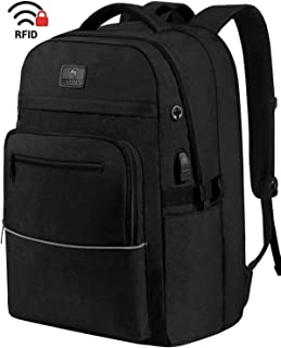 Laptop Backpack,WhiteFang 17.3 Inch Extra Large TSA Friendly Business Travel Laptop Backpack with USB Charging Port, RFID Pockets Water Resistant Big School Backpack for Women & Men Fits 17.3 Inch Laptop-Black
