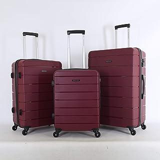 جيوردانو طقم حقائب سفر صلبة بـ 4 عجلات - مجموعة من 3 قطع