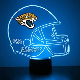 Mirror Magic Light Up LED Lamp - Football Helmet Night Light for Bedroom with Free Personalization - Features Licensed Decal and Remote (Jacksonville Jaguars)