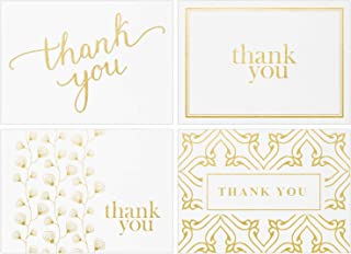 100 Thank You Cards Bulk - Thank You Notes, White & Gold - Blank Note Cards with Envelopes - Perfect for Business, Wedding, Graduation, Bridal and Baby Shower - 4x6 Photo Size (white)