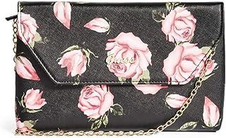 Guess Factory Women's Crossbody Hand Bag Valora Phone Travel Wristlet, Faux Leather, Convertible Belt Bag - Black Floral