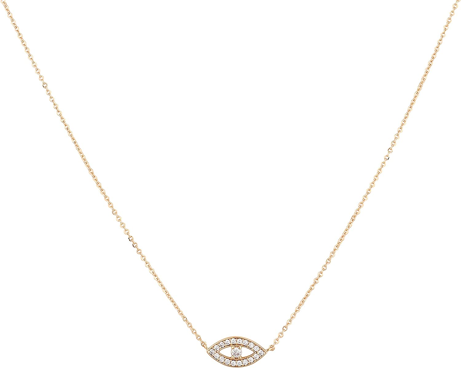 MEVECCO Gold Dainty Evil Eye Necklace for Women 18K Gold Plated Cute Delicate Solitaire Cubic Zirconia Boho Protection Evil Eye Minimalist Simple Necklace Gift