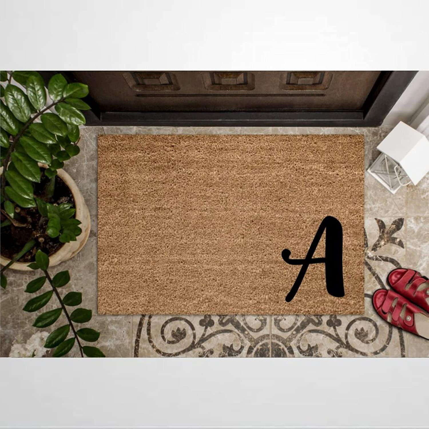 Custom First Or Last Special price for a limited time Monogram Coir Doormat Door Welcome Rustic M Super popular specialty store