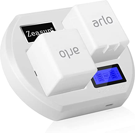 Camera Batteries Charger for Arlo Rechargable Batteries,Zeasun LCD Display Arlo Battery Charger Compatible with Arlo Pro, Pro 2, Arlo GO, Arlo Light (White)