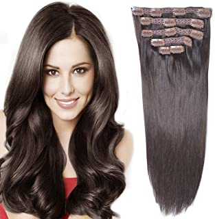 "14""Remy Human Hair Clip in Extensions for Women Thick to Ends Dark Brown(#2) 6Pieces 70grams/2.45oz"