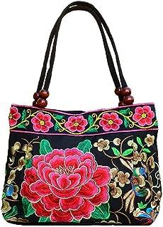 Vintage Embroidery Boho Womens Handbag Mandala Flower Embroidered Totes Travel Beach Bag
